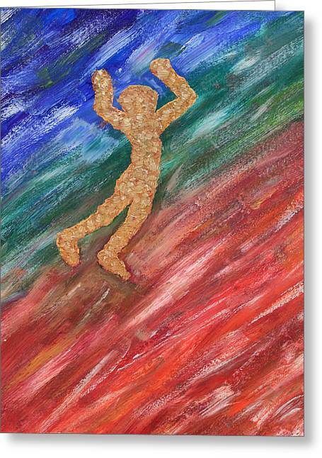 Oil Color Study With Jumping Man Two K Ten Greeting Card