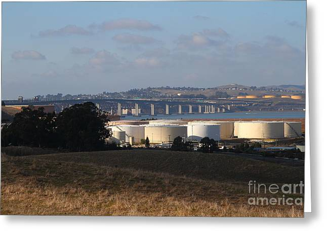 Oil Refinery Industrial Plant And Martinez Benicia Bridge In Martinez California . 7d10388 Greeting Card by Wingsdomain Art and Photography