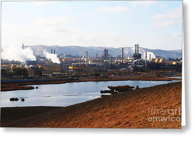 Oil Refinery Industrial Plant In Martinez California . 7d10393 Greeting Card by Wingsdomain Art and Photography