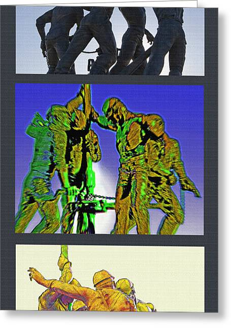 Oil Riggers Triptych Greeting Card by Steve Ohlsen