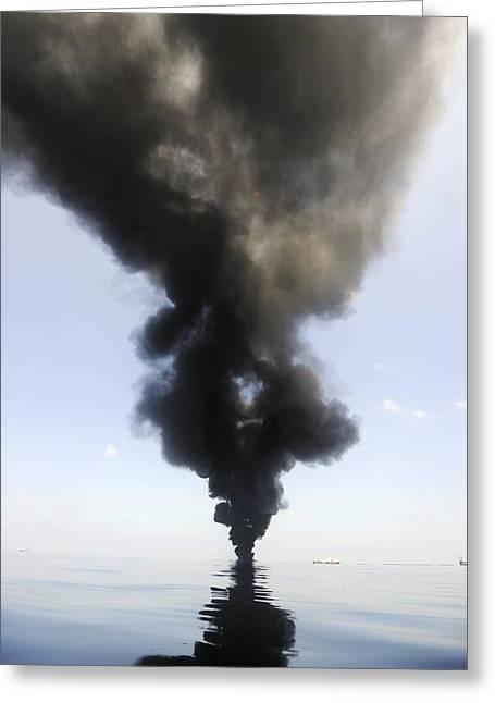 Oil Spill Burning, Usa Greeting Card by U.s. Coast Guard