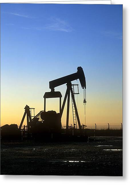 Oil Well Pump Greeting Card by Martin Bond