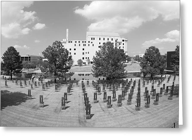 Oklahoma City National Memorial Black And White Greeting Card by Ricky Barnard