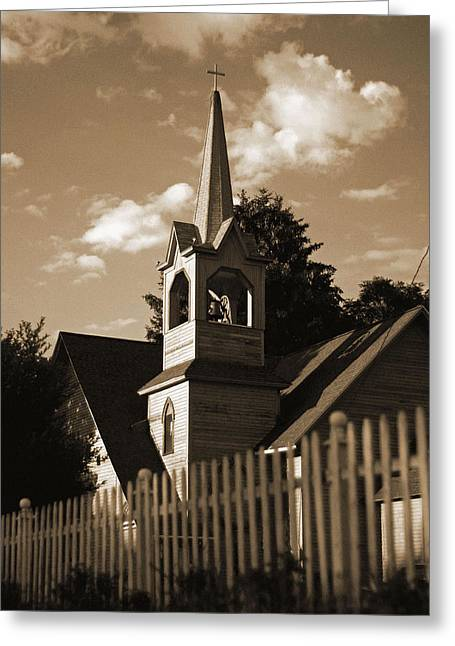 Ol' Church On The Hill Greeting Card