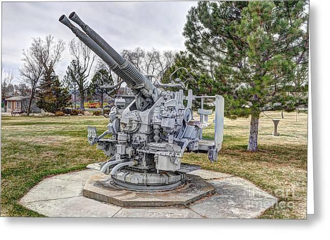 Old Anti-aircraft Gun At City Park Greeting Card by Gary Whitton