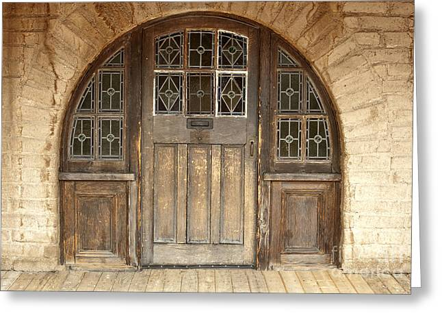Old Arched Doorway Greeting Card by Sandra Bronstein