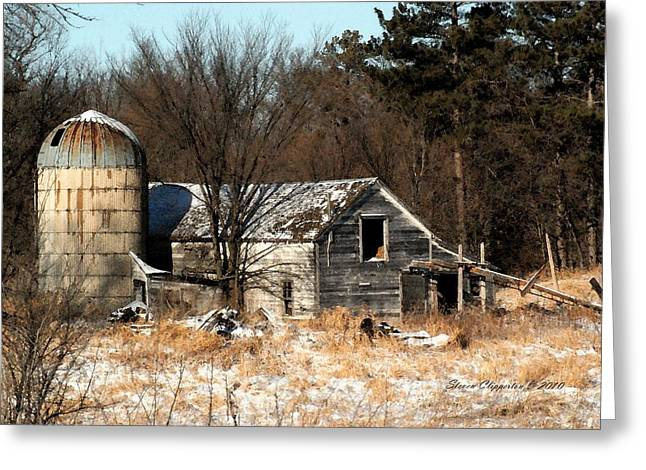 Old Barn And Silo Greeting Card
