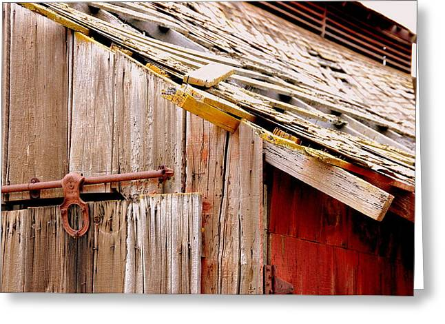 Old Barn Close Greeting Card by Jeff Lowe