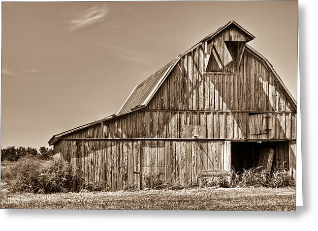 Old Barn In Sepia Greeting Card by Douglas Barnett