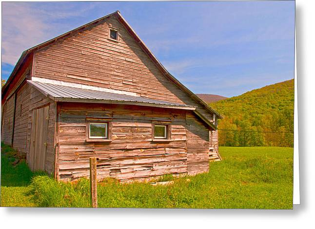 Greeting Card featuring the photograph Old Barn In The Valley by Nancy De Flon