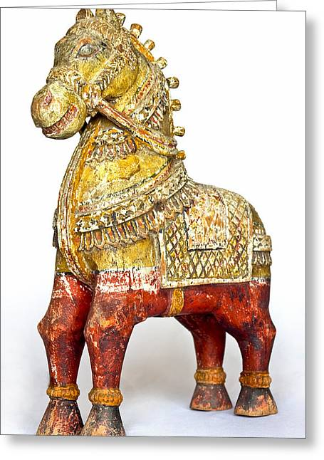Old Battered Crafted Wooden Horse Greeting Card by Kantilal Patel