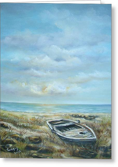 Greeting Card featuring the painting Old Boat Beached by Luczay