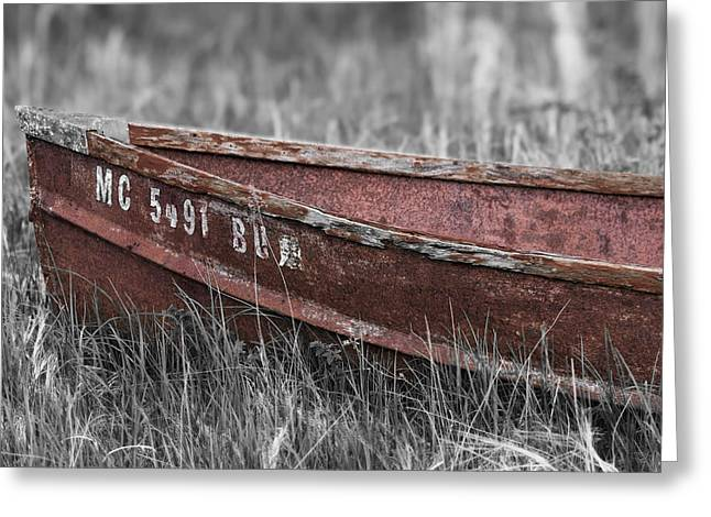 Old Boat Washed Ashore  Greeting Card by Joe Gee