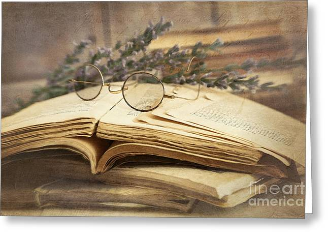 Old Books Open On Wooden Table  Greeting Card