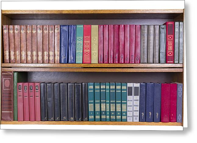 Old Books With Color Covers  On A Shelf  Greeting Card by Aleksandr Volkov