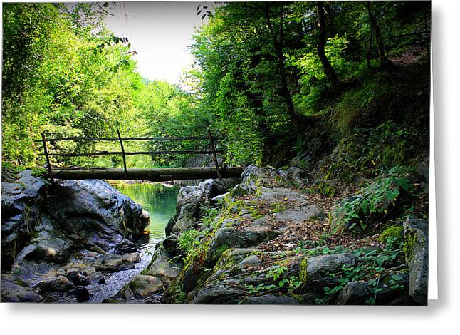 Old Bridge  In The Mountain Greeting Card by Radoslav Nedelchev