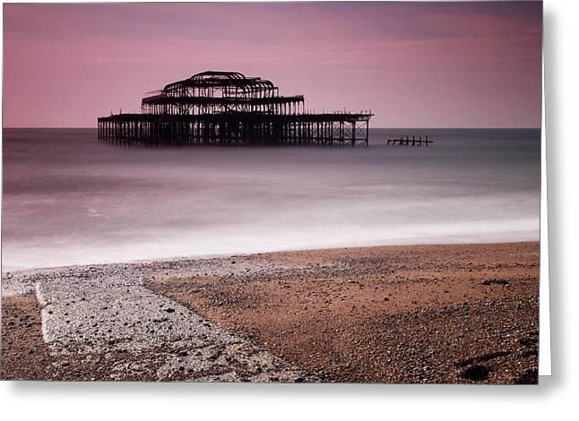 Old Brighton Pier Greeting Card by Nina Papiorek