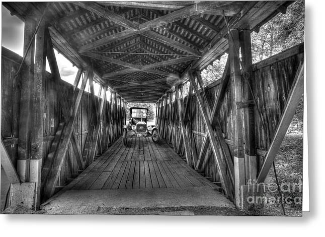 Old Car On Covered Bridge Greeting Card by Dan Friend
