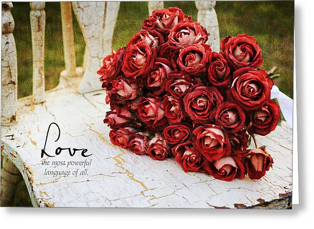 Old Chair And Bouquet 1 Greeting Card by Mary Hershberger