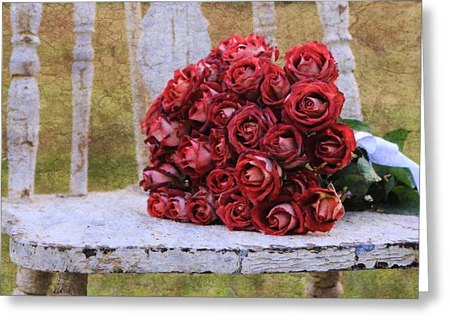 Old Chair And Bouquet 4 Greeting Card by Mary Hershberger