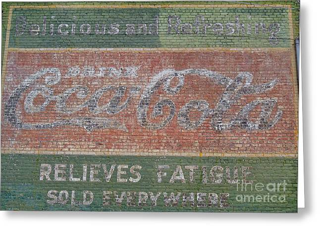 Greeting Card featuring the photograph Old Coca Cola Painted Brick Wall by Doris Blessington