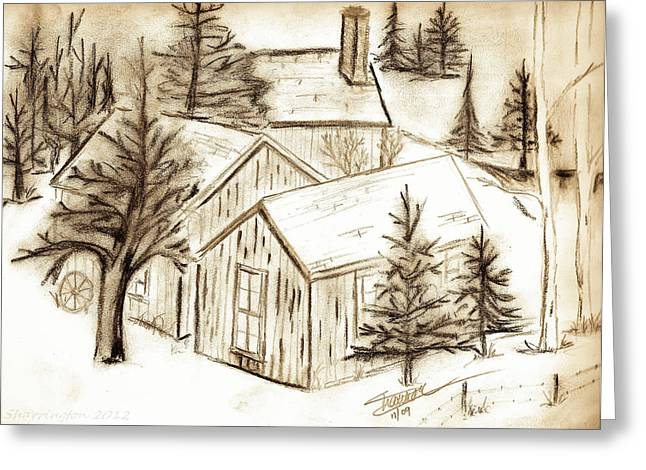 Greeting Card featuring the drawing Old Colorado by Shannon Harrington