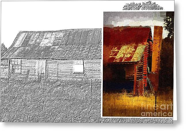 Old Cottage Diptych 1 Greeting Card