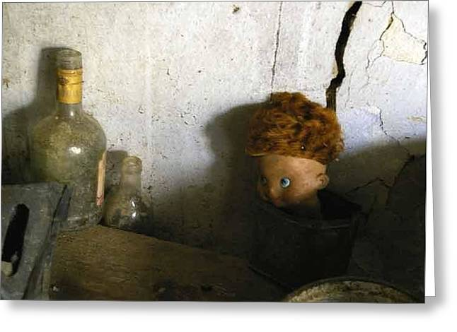 Old Doll In The Attic Greeting Card by Draia Coralia