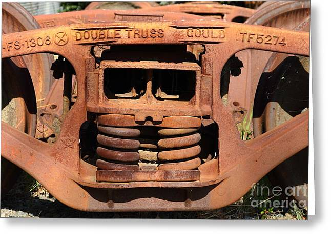 Old Double Truss Train Wheel . 7d12855 Greeting Card by Wingsdomain Art and Photography