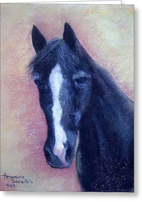 Greeting Card featuring the painting Old Ebony by Annamarie Sidella-Felts