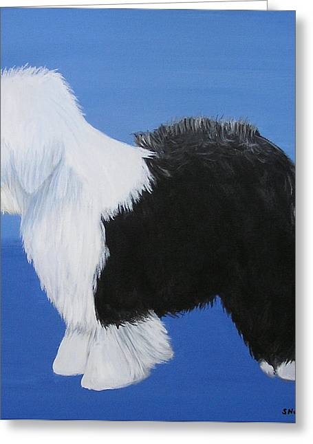 Old English Sheepdog Greeting Card by Sharon Nummer