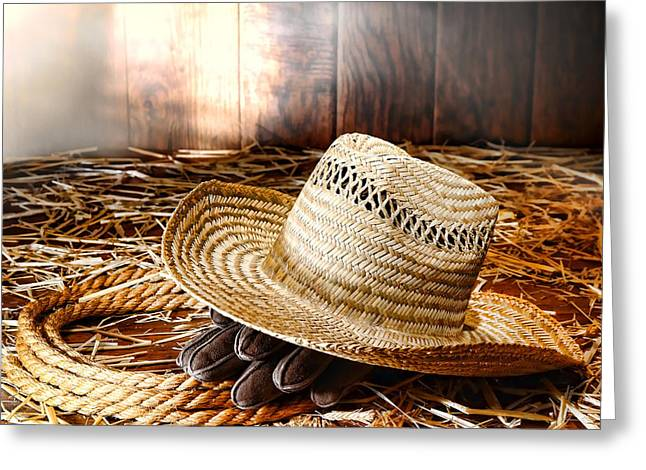 Old Farmer Hat In Hay Barn Greeting Card by Olivier Le Queinec
