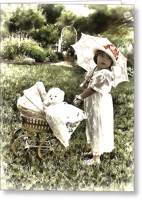 Old Fashion Girl Greeting Card by Trudy Wilkerson
