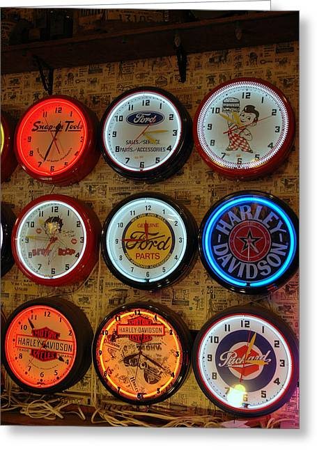 Old Fashioned Neon Time Clocks Greeting Card