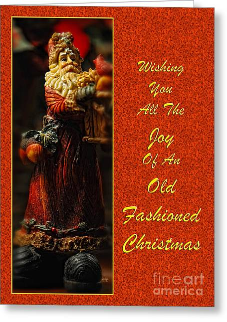 Old Fashioned Santa Christmas Card Greeting Card by Lois Bryan