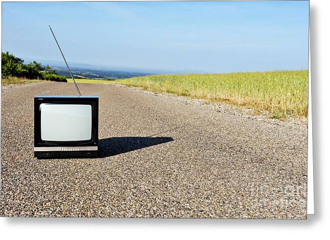 Old Fashioned Tv On Empty Countryside Road Greeting Card