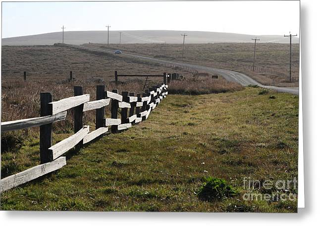 Old Fence And Landscape Along Sir Francis Drake Boulevard At Point Reyes California . 7d9897 Greeting Card by Wingsdomain Art and Photography