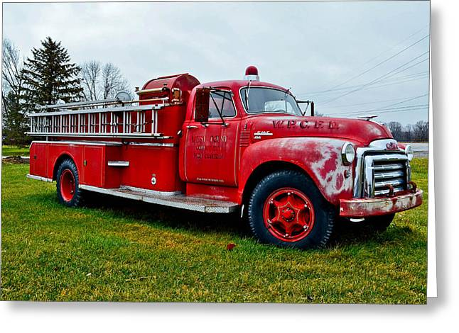 Old Firetruck Greeting Card by Brenda Becker