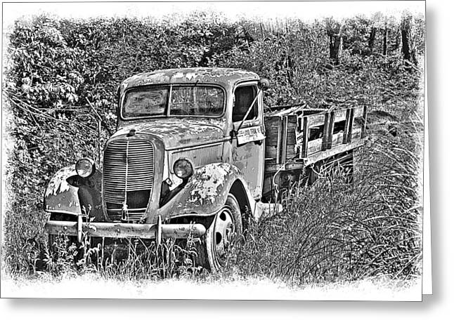 Old Ford Flatbed Bw Greeting Card