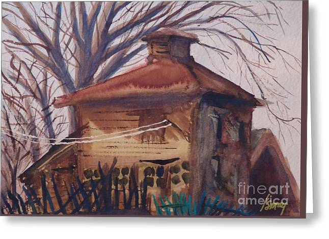 Greeting Card featuring the painting Old Garage by Rod Ismay