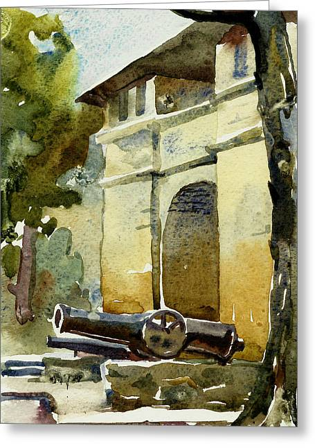 Old Gate With Cannon Watercolor Greeting Card
