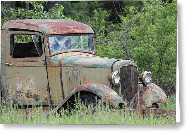 Abandoned Truck In Field Greeting Card by Athena Mckinzie