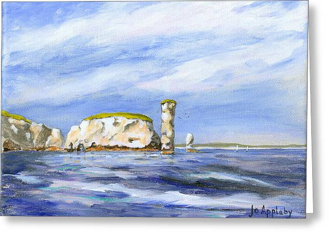 Old Harry Rocks Greeting Card by Jo Appleby