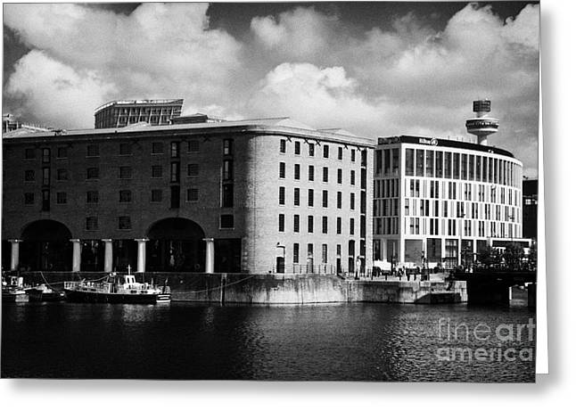 Old Historic Warehouse And The New Hilton Hotel At The Albert Dock Liverpool Merseyside England Uk Greeting Card by Joe Fox