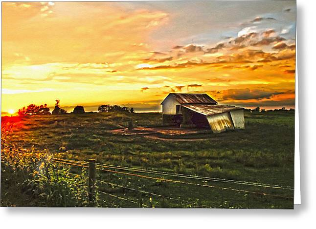 Old Horse Shed At Sundown Greeting Card by Randall Branham