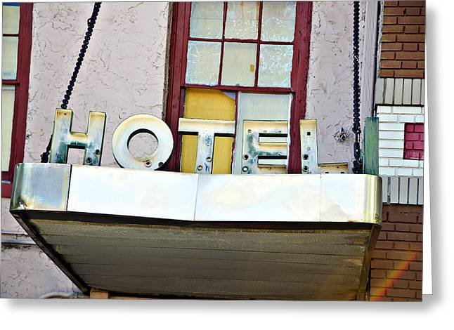 Old Hotel Sign Greeting Card