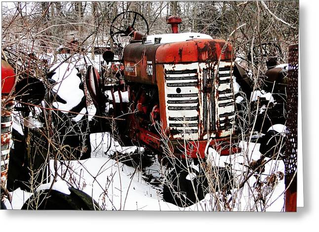 Old International Harvester Tractor Greeting Card
