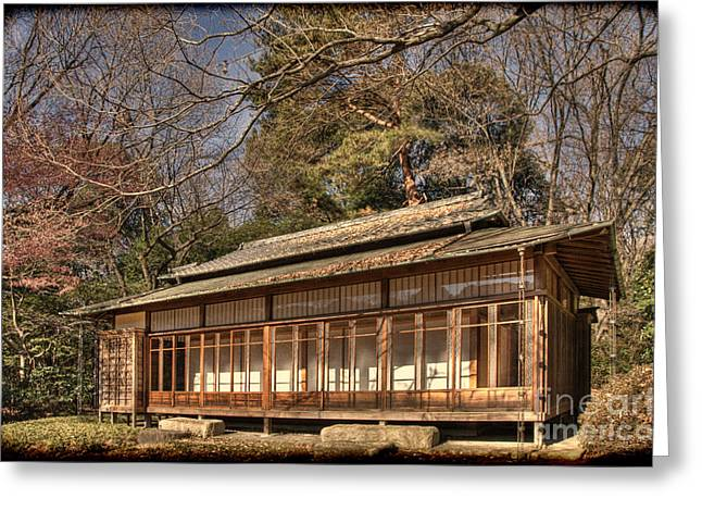 Old Japanese House In Autum Greeting Card by Tad Kanazaki