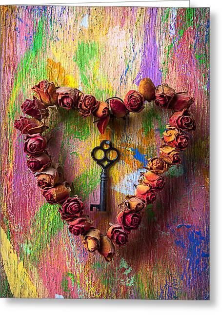 Old Key And Rose Heart Greeting Card by Garry Gay