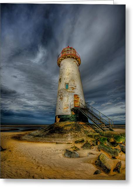Old Lighthouse Greeting Card by Adrian Evans